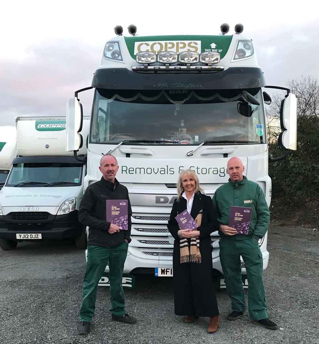 Lisa Rogerson with her brothers Gary and Simon at Copps Removals