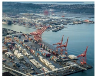 Seattle, a major US port.